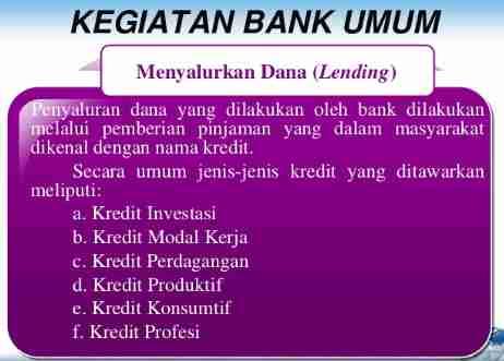 Jenis Kegiatan Bank Umum