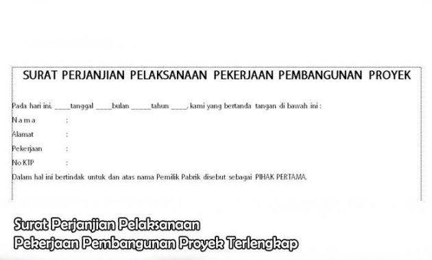 Surat Perjanjian Pelaksanaan Pekerjaan Pembangunan Proyek Terlengkap